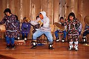 Alaska, Anchorage, Alaska Native Heritage Center. King Island Eskimo dancers and the Witch doctor dance.