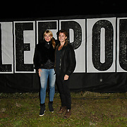Meredith Ostrom and Ross William Wild join Sleep Out fundraiser to help homeless young people at Greenwich Peninsula Quay on 15 November 2018, London, UK.