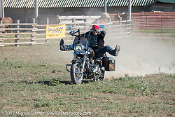 Reed Holmes went wild in the Bikers vs Cowboys barrel racing  (the cowboys won!) on the Run to the Line at Spur Creek Ranch during the annual Sturgis Black Hills Motorcycle Rally. SD, USA. Wednesday August 9, 2017.  Photography ©2017 Michael Lichter.