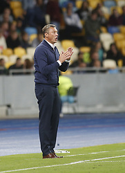 August 24, 2017 - Dynamo head coach Olexandr Khatskevych reacts  during the Europa League second play-off soccer match between FC Dynamo Kyiv and FC Maritimo, at the Olimpiyskyi stadium in Kyiv, Ukraine, August 24, 2017. (Credit Image: © Anatolii Stepanov via ZUMA Wire)