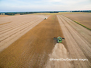 63801-09015 Soybean Harvest, 2 John Deere combines harvesting soybeans - aerial - Marion Co. IL