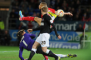 Cardiff city's  Rudy Gestede is blocked by Charlton keeper Ben Hamer. NPower championship, Cardiff city v Charlton Athletic at the Cardiff city stadium in Cardiff, South Wales on Tuesday 16th April 2013. pic by Andrew Orchard,  Andrew Orchard sports photography,