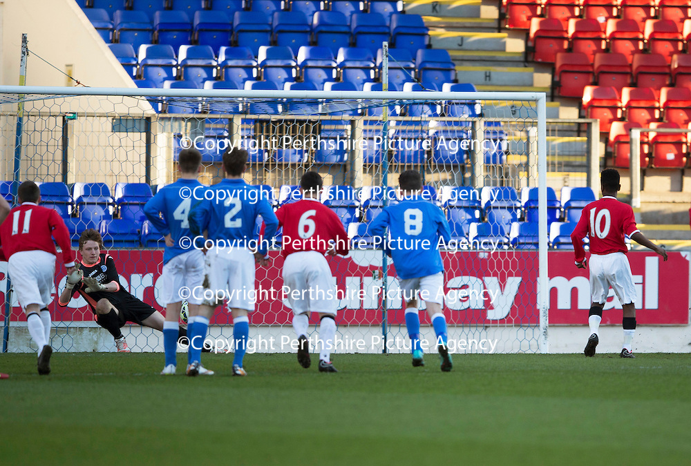 St Johnstone Academy v Manchester United Academy....17.04.15   <br /> Trialist keeper Ben McKenzie saves Angel Gomes penalty kick<br /> Picture by Graeme Hart.<br /> Copyright Perthshire Picture Agency<br /> Tel: 01738 623350  Mobile: 07990 594431