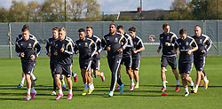 NEWPORT, WALES - Tuesday, October 7, 2014: Wales' captain Ashley Williams and his squad training at Dragon Park National Football Development Centre ahead of the UEFA Euro 2016 qualifying match against Bosnia and Herzegovina. (Pic by David Rawcliffe/Propaganda)