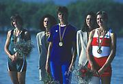 Banyoles, SPAIN,   left:  Silver medalist. BEL W1X Ann Elise BREDAEL, centre: Romanian Women's single Sculls Gold Medalist, ROM W1X:  Elisabeta LIPA - OLENIUC, Right: CAN W1X Silken LAUMANN. 1992 Olympic Regatta, Lake Banyoles, Barcelona, SPAIN.    [Mandatory Credit: Peter Spurrier: Intersport Images]