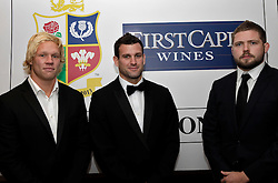 © Licensed to London News Pictures. 31/10/2012. London, U.K. .Matt Hopper(l) Karl Dickson (m) and  Chris brooker(r ) of the harlequins  joined the star studded line-up for the Ugo Monye Halloween Ball supported by FIRSTCAPE WINE at Grovesnor House Hotel, Park Lane, London this evening (31/10/2012). An auction was held to raise money for Ugo Monye's selected charities: Help a capital child and The Rugby players benevolent fund..Photo credit : Rich Bowen/LNP