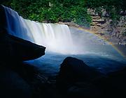 Cumberland Falls with rainbow, 68 foot drop and 125 feet wide, Cumberland Falls State Resort Park, Kentucky