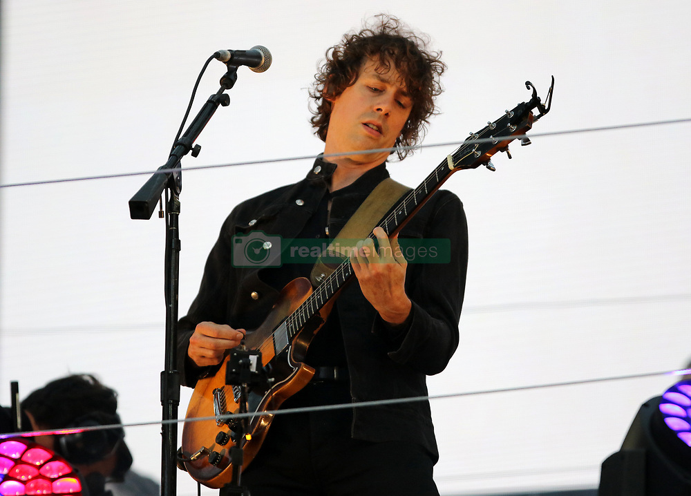 Johnny Borrell of Razorlight performing at half time during the Betfred Super League Grand Final at Old Trafford, Manchester.