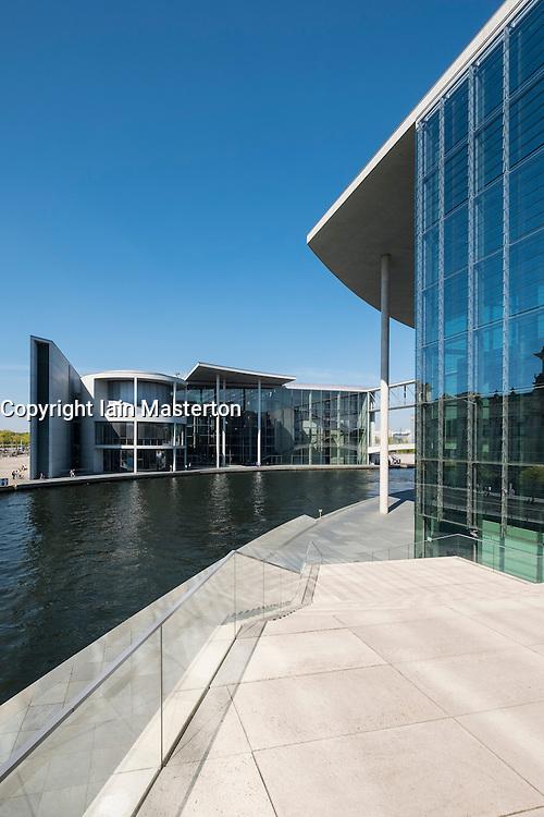View of Paul Lobe Haus and Marie Elisabeth Luders ( Lueders) Haus government buildings beside River Spree in Berlin Germany