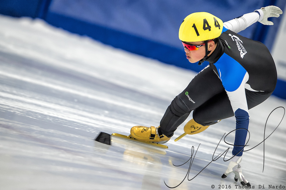 March 18, 2016 - Verona, WI - Andrew Heo, skater number 144 competes in US Speedskating Short Track Age Group Nationals and AmCup Final held at the Verona Ice Arena.