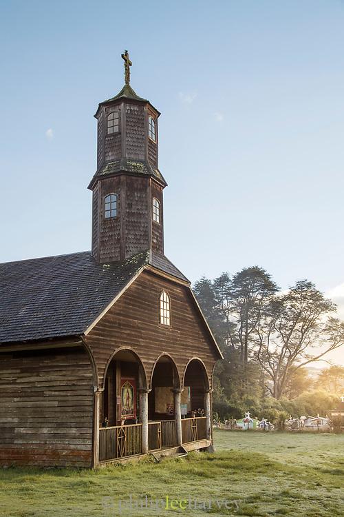 Church of Vilupulli on Chiloe Island, Chile