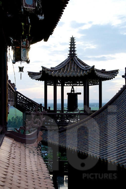 Roof architecture of Hang Pagoda, An Giang Province, Vietnam, Southeast Asia