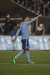 April 29, 2018 - Bronx, New York, United States - New York City forward DAVID VILLA (7) celebrates his second goal during a regular season match at Yankee Stadium in Bronx, NY.  NYCFC defeats FC Dallas 3 to 1. (Credit Image: © Mark Smith via ZUMA Wire)