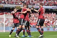 Fotball<br /> Tyskland<br /> Nürnberg<br /> Foto: Witters/Digitalsport<br /> NORWAY ONLY<br /> <br /> 1:0 Jubel v.l. Torschuetze Niclas Fuellkrug, Georg Margreitter (Nuernberg) <br /> Nuernberg, 08.05.2016, Fussball, 2. Bundesliga, 1. FC Nuernberg - FC St. Pauli 1:0