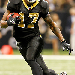 December 4, 2011; New Orleans, LA, USA; New Orleans Saints wide receiver Robert Meachem (17) against the Detroit Lions during a game at the Mercedes-Benz Superdome. The Saints defeated the Lions 31-17. Mandatory Credit: Derick E. Hingle-US PRESSWIRE