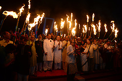 March 25, 2019 - Dhaka, Bangladesh - Members of civil society hold torches during a rally in remembrance of 'Black Night 1971' in Dhaka, Bangladesh, on March 25, 2019. The day marks ''Operation Searchlight'' when the Pakistan army attacked the halls at Dhaka University, the then East Pakistan Rifles headquarters and Rajarbagh Police Lines, killing several thousand unarmed Bengalis through the night. (Credit Image: © Str/NurPhoto via ZUMA Press)