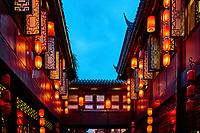 Chinese lanterns of Jinli Pedestrian Street in Chengdu Sichuan China