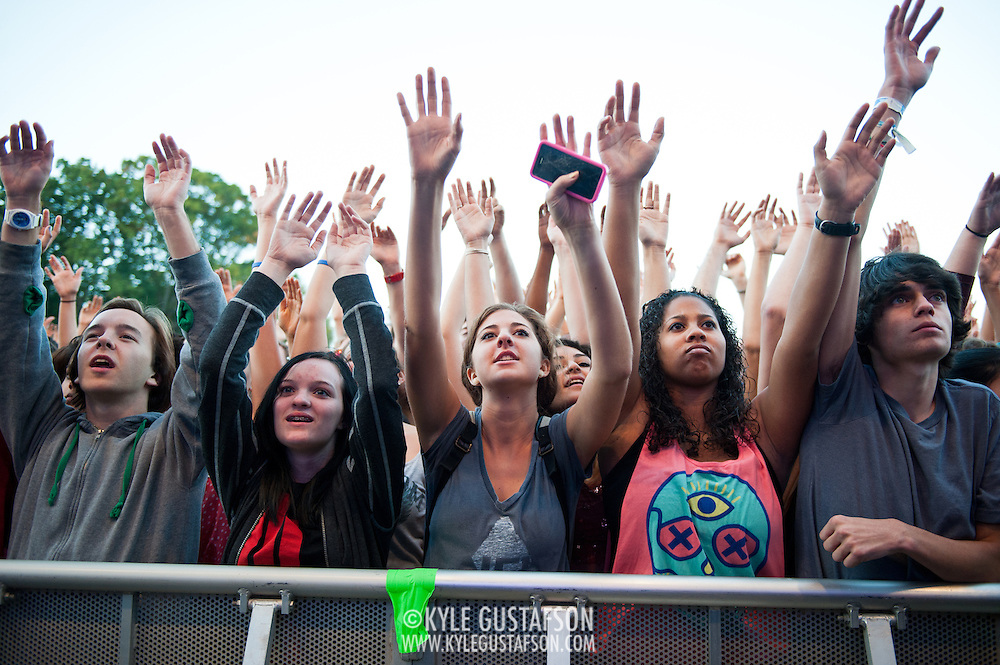COLUMBIA, MD - October 6th, 2012 - The crowd at the 2012 Virgin Mobile FreeFest in Columbia, MD. reacts as rapper Nas takes the stage.(Photo by Kyle Gustafson / For The Washington Post)