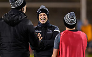 Newcastle Falcons Head Coach Dave Walder talks with Micky Young  and Nick Easter before a Gallagher Premiership Round 12 Rugby Union match, Friday, Mar 05, 2021, in Eccles, United Kingdom. (Steve Flynn/Image of Sport)
