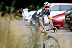 Mark Cavendish of Omega Pharma Quick Step Cycling Team smiles as he tests his bike in a car park at Rudding park near Harrogate, location of the teams Hotel - Photo mandatory by-line: Rogan Thomson/JMP - 07966 386802 - 04/07/2014 - SPORT - CYCLING - Harrogate, Yorkshire - Le Tour de France Grand Depart Previews.