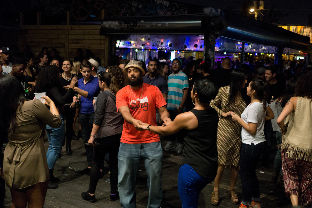 MIAMI, FLORIDA, NOVEMBER 2, 2015<br /> Dancing and partying at The Wood Tavern bar in the Wynwood arts district in MIami, Florida two days before the official kickoff of Art Basel 2015. (Photo by Angel Valentin/Freelance)