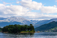Norway, Norheimsund. Folgefonna glacier above Hardangerfjord.