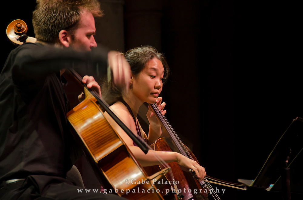 Edward Arron, cello,  and Alice Yoo, cello, performing with the Caramoor Virtuosi performing in the Venetian Theater at Caramoor on Friday, July 8. (photo by Gabe Palacio)