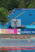 """Glasgow, Scotland, """"2nd August 2018"""", The Netherlands Women's Straight Four, """"NED W4-"""" passing under a sparsley populated Granstand after the finish of their heatEuropean Games, Rowing, Strathclyde Park, North Lanarkshire, © Peter SPURRIER/Alamy Live News"""