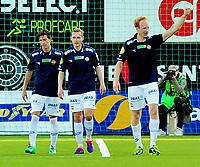 Fotball Herrer Tippeligaen 2014<br /> Marienlyst Stadion Gamle Gress  16.5.2014<br /> <br /> Strømsgodset vs Sarpsborg 08<br /> <br /> Resultat <br /> <br /> Foto: Robert Christensen Digitalsport<br /> <br /> Strømsgodset Peter Kovacs jubler for scoring Øyvind Storflor og Gustaw Mendonca Wikheim
