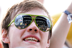 Fans of The Wombats on the MNE stage at T in the Park Friday 11 July 2008..T in the Park 2008 festival took place on the Friday 10th July, Saturday 11th July and Sunday 12th July, at Balado, near Kinross in Perth and Kinross, Scotland..Pic ©Michael Schofield. All Rights Reserved..