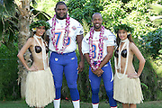 KO OLINA - FEBRUARY 11:  NFC St. Louis Rams 2005 NFL Pro Bowl All-Stars (players left to right: Orlando Pace #76, Torry Holt #81) pose with Hawaiian Hula girls for their 2005 NFL Pro Bowl team photo on February 11, 2005 in Ko Olina, Hawaii. ©Paul Anthony Spinelli