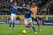 Joe Ralls (Cardiff City) clears the ball during the Sky Bet Championship match between Hull City and Cardiff City at the KC Stadium, Kingston upon Hull, England on 13 January 2016. Photo by Mark P Doherty.