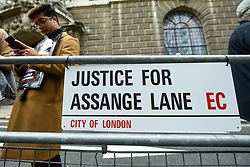 © Licensed to London News Pictures. 07/09/2020. LONDON, UK. A sign erected by supporters of Wikileaks founder Julian Assange at a protest outside the Old Bailey as his extradition hearing, which is expected to last for the next three or four weeks, resumes after it was postponed due to the coronavirus pandemic lockdown.  Julian Assange is wanted in the US for allegedly conspiring with army intelligence analyst Chelsea Manning to expose military secrets in 2010.  Photo credit: Stephen Chung/LNP