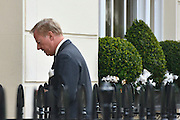 © Licensed to London News Pictures. 10/04/2013. London, UK Mark Thatcher walks back into his mothers house after making a statement. Mark Thatcher, son of former conservative Prime Minister Margaret Thatcher, who died on 8th April from a stroke, makes a statement to the media outside his mothers house in central London today 10th April 2013. Photo credit : Stephen Simpson/LNP