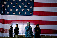 """Supporters arrive to see President BIll Clinton appear at a """"Solutions for America"""" rally at the California Exposition and State Fair Grounds in Sacramento, CA., as he campaigns for his wife, Senator Hillary Clinton, Monday Feb. 4 2008."""