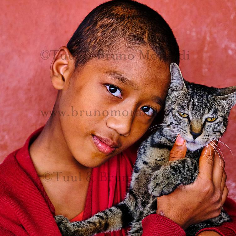 Nepal, Vallee de Kathmandu, Katmandou, village de Bodnath, monastère tibetain Tsechen Shedup Ling Sakya Tharig Monastery // Nepal, Kathmandu valley, Bodnath village, Tsechen Shedup Ling Sakya Tharig tibetan monastery