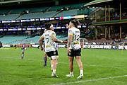 Du'Plessis Kirifi celebrates the Peter Umaga-Jensen try. Waratahs v Hurricanes. 2021 Super Rugby Trans Tasman Round 1 Match. Played at Sydney Cricket Ground on Friday 14 May 2021. Photo Clay Cross / photosport.nz
