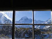 Aoraki as seen from within the Stocking Stream shelter on the Hooker Valley Track, Aoraki/Mt. Cook National Park, New Zealand