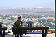 Israel, Upper Galilee, Metula, Israeli soldiers on tour at the Dado lookout on the Lebanese border