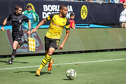 July 22, 2018 - Charlotte, North Carolina, USA - Borussia Dortmund defender Jeremy Toljan (15) during an International Champions Cup match at Bank of America Stadium in Charlotte, NC.  Borussia Dortmund of the German Bundesliga beat Liverpool of the English Premier League 3 to 1. (Credit Image: © Jason Walle via ZUMA Wire)