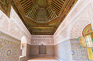 Interior of the historical Kasbah Telouet in Morocco with beautiful wood carvings, incised plaster and colored tileword in ornamental style.