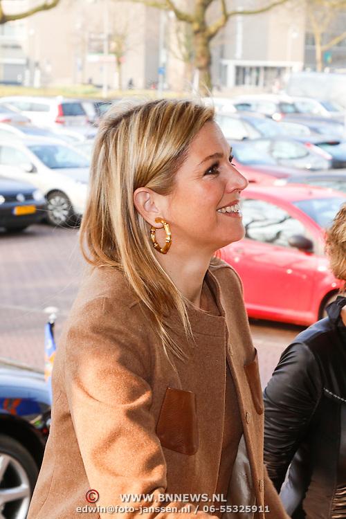 NLD/Amsterdam/20130409 - Prinses Maxima houdt toespraak conferentie The Currency Exchange Fund, aankomst Prinses Maxima