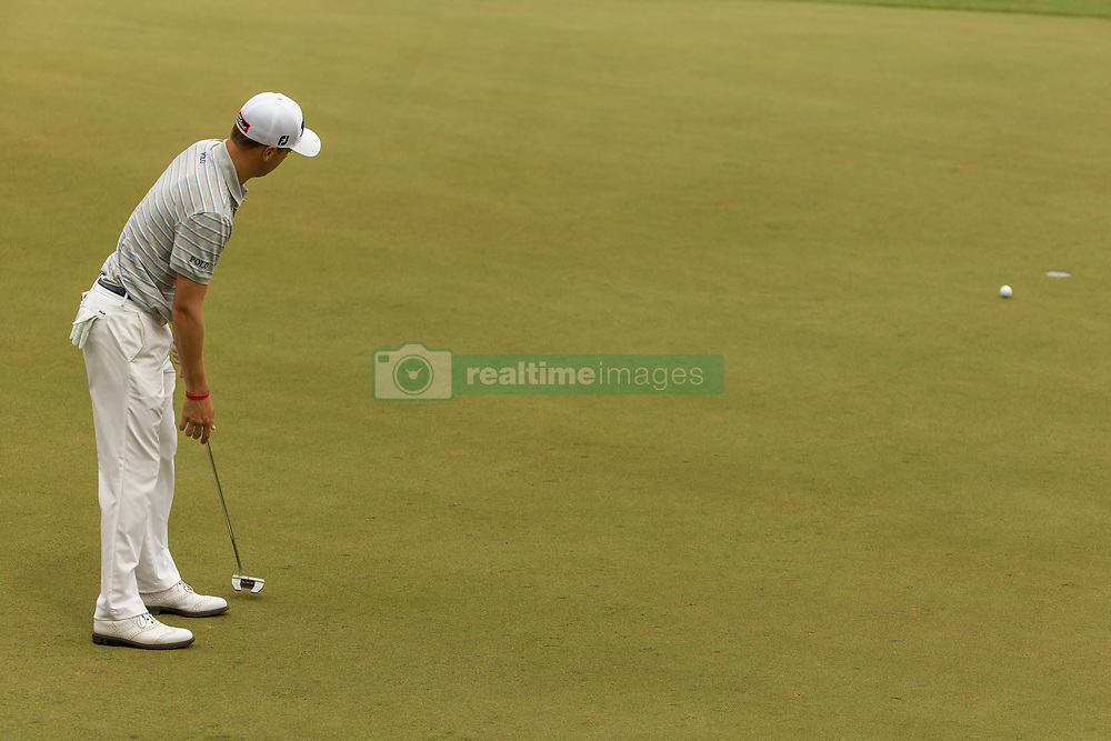 March 23, 2018 - Austin, TX, U.S. - AUSTIN, TX - MARCH 23:  Justin Thomas watches his birdie putt on the par three eleventh hole fall just short during the WGC-Dell Technologies Match Play Tournament on March 22, 2018, at the Austin Country Club in Austin, TX.  (Photo by David Buono/Icon Sportswire) (Credit Image: © David Buono/Icon SMI via ZUMA Press)