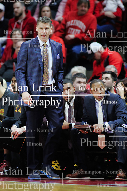 NORMAL, IL - February 02: Porter Moser during a college basketball game between the ISU Redbirds and the University of Loyola Chicago Ramblers on February 02 2019 at Redbird Arena in Normal, IL. (Photo by Alan Look)