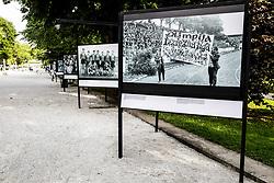 Photo exhibition due to 100 Years of Football Association of Slovenia, in Jakopicevo sprehajalisce, Tivoli park, Ljubljana, Slovenia. Photo by Vid Ponikvar / Sportida