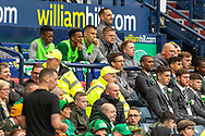 The Celtic Bench look on as the end of the 1st half draws close during the William Hill Scottish Cup Final match between Heart of Midlothian and Celtic at Hampden Park, Glasgow, United Kingdom on 25 May 2019.