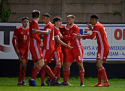 RHYL, WALES - Wednesday, November 14, 2018: Wales' Neco Williams celebrates scoring the first goal with Brandon Cooper during the UEFA Under-19 Championship 2019 Qualifying Group 4 match between Wales and Scotland at Belle Vue. (Pic by Paul Greenwood/Propaganda)
