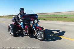 Richard Frantsvog, an American Legion Post 22 Rider from Rapid City, on the USS South Dakota submarine flag relay across South Dakota on the first day from Sturgis to Aberdeen. SD. USA. Saturday October 7, 2017. Photography ©2017 Michael Lichter.