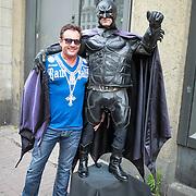 NLD/Amsterdam/20130710 - Onthulling wassen beelden van Abba door Gerard Joling in Madame Tussauds , Gerard Joling en Batman