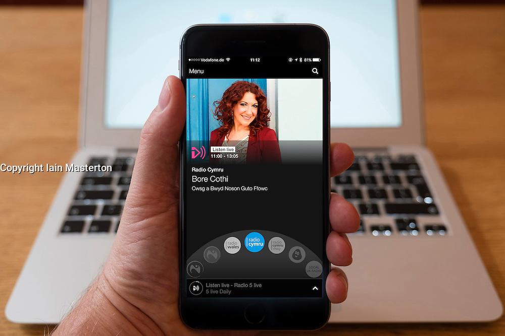 Using iPhone smartphone to display show on BBC Radio Cymru Welsh language radio station